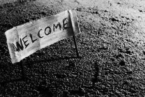 welcome sign enter sanctuary