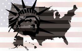 flag map america u.s. usa statue of liberty