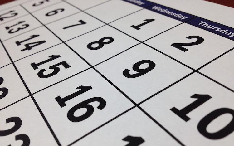 calendar date week month wfp