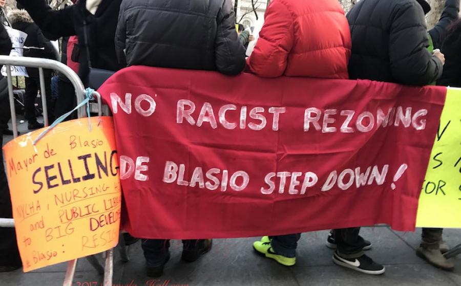 """MLK Day Protest Demands Racist """"RED BILL"""" de Blasio Step down"""